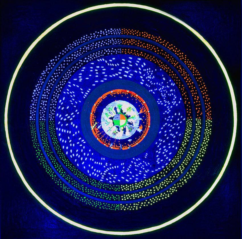 Acrilici, foglia d'oro vera, foglia di rame, fluorescenti, fosforescenti, microsfere di vetro e glitter su tela 100 x 100 cm